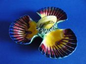 Majolica Palissy Style 'Scallop Shell and Mussel' Triple Salt c1890
